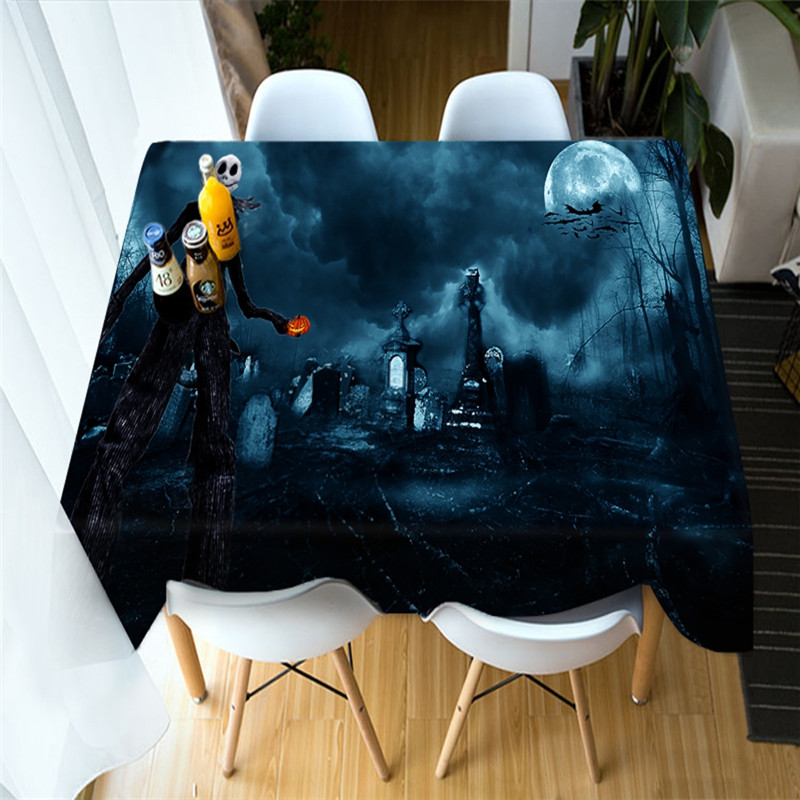 3D Skull and Pumpkin Lantern Printing Polyester Table Cover Cloth
