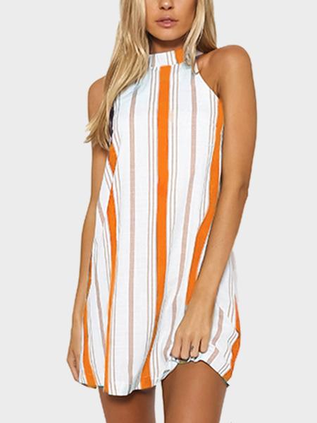 Yoins Orange Stripe Halter Neck Mini Dress