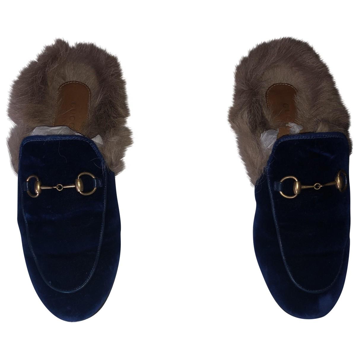 Gucci Princetown Blue Velvet Flats for Women 37 EU