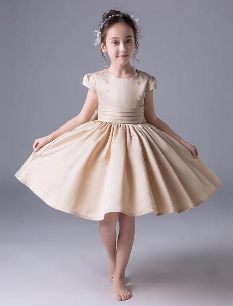 Milanoo Flower Girl Dresses Satin Champagne Short Sleeve Princess Dress Pleated Knee Length Kids Party Dresses