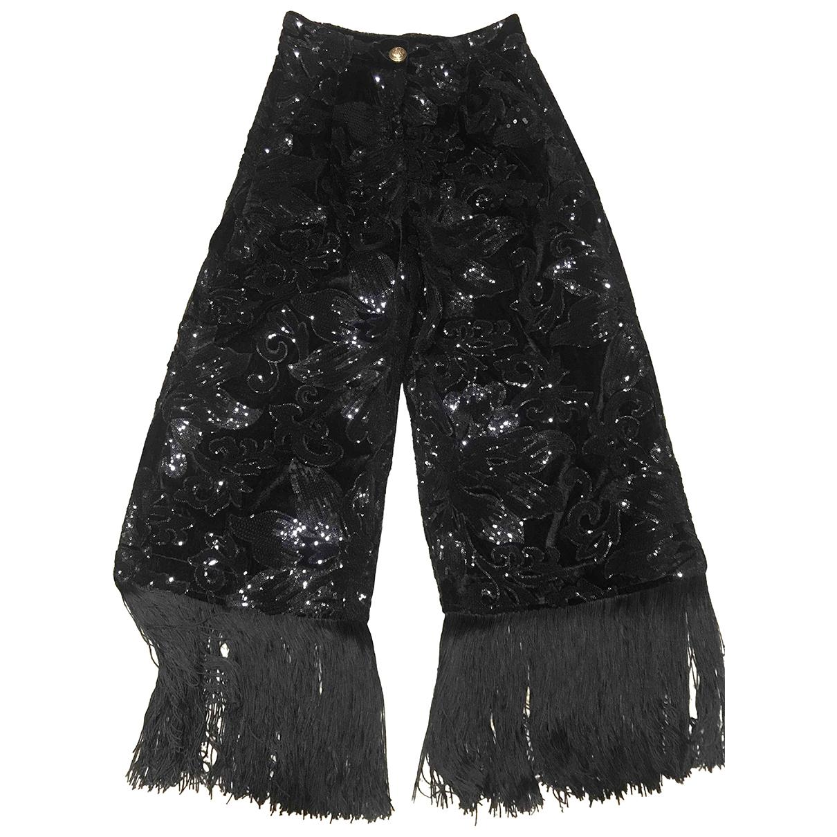 Autre Marque N Black Velvet Trousers for Women M International