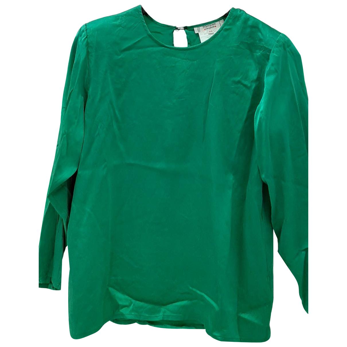 Yves Saint Laurent \N Green Silk  top for Women 38 FR