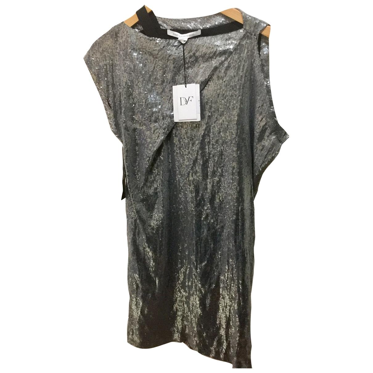 Diane Von Furstenberg \N Kleid in  Silber Seide