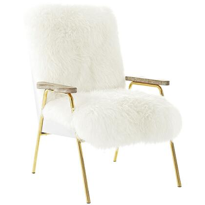 Sprint Collection EEI-2305-BRN-WHI Sheepskin Armchair with Gold Accented Stainless Steel Base  Densely Padded Foam  Solid Oak Wood Armrests  Vinyl