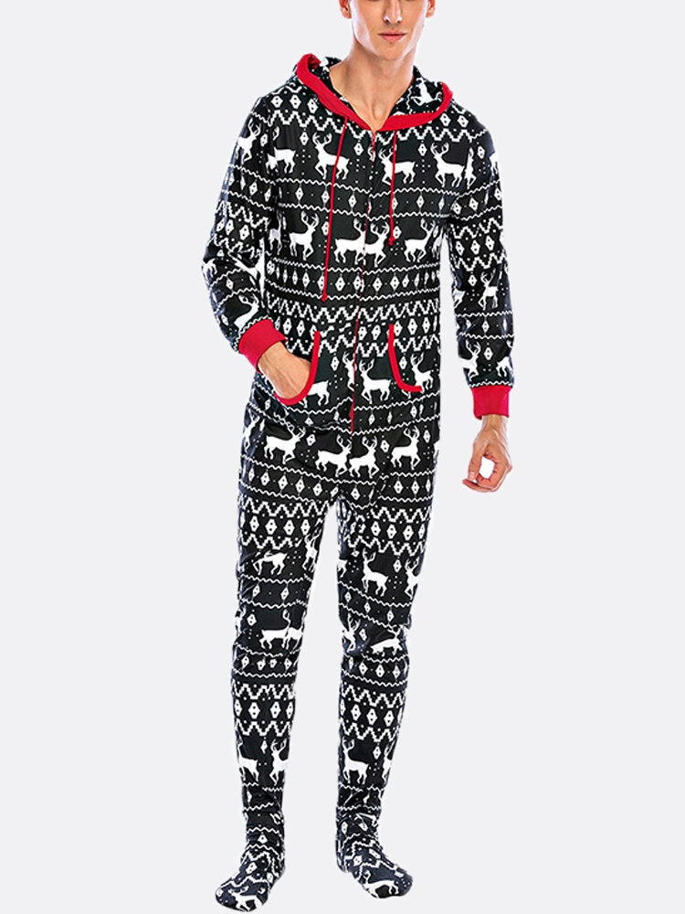 Mens Footed Onesie Pajamas Christmas Snowflake Elk Printing Home Hooded Loungewear Jumpsuit
