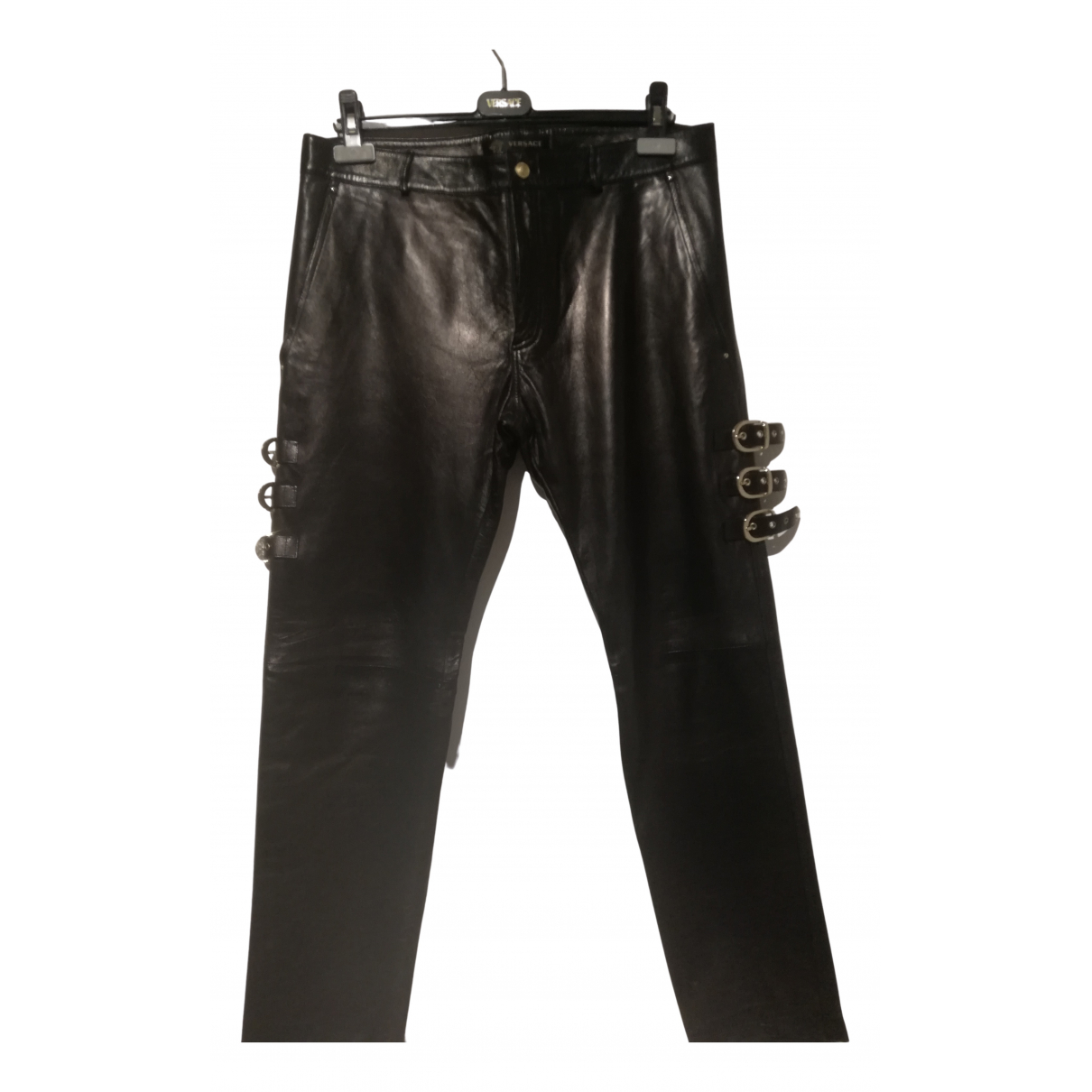 Versace N Black Leather Trousers for Men 50 IT