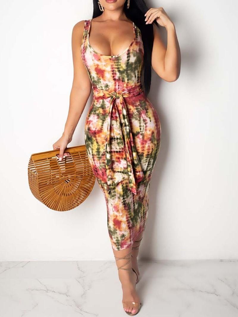 Ericdress Tie-Dye Pencil Mid-Calf Sleeveless Travel Look Pullover Dress