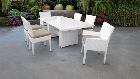 MONACO-DTREC-KIT-4ADC2DCC-WHEAT Monaco 7-Piece Outdoor Patio Dining Set with Rectangular Table + 4 Side Chairs + 2 Arm Chairs - Sail White and Wheat
