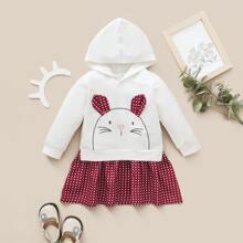 Baby Girl Polka Dot & Cartoon Graphic Hoodie Dress