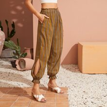 Striped Paperbag Waist Crop Carrot Pants