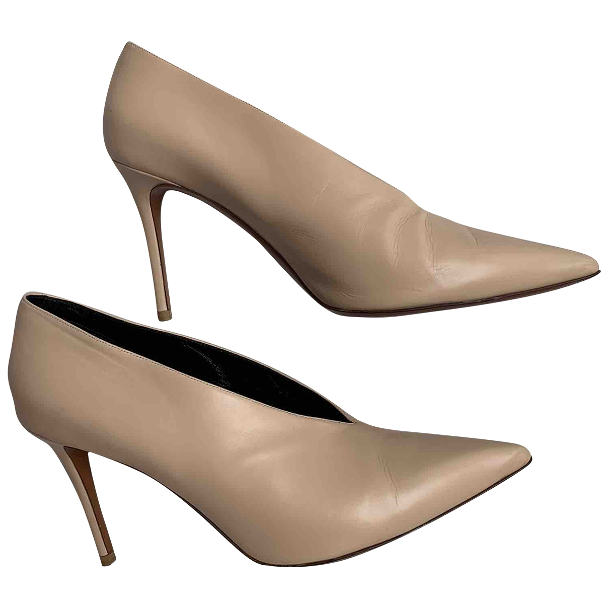 Celine Soft V Neck Beige Leather Heels for Women 39.5 EU