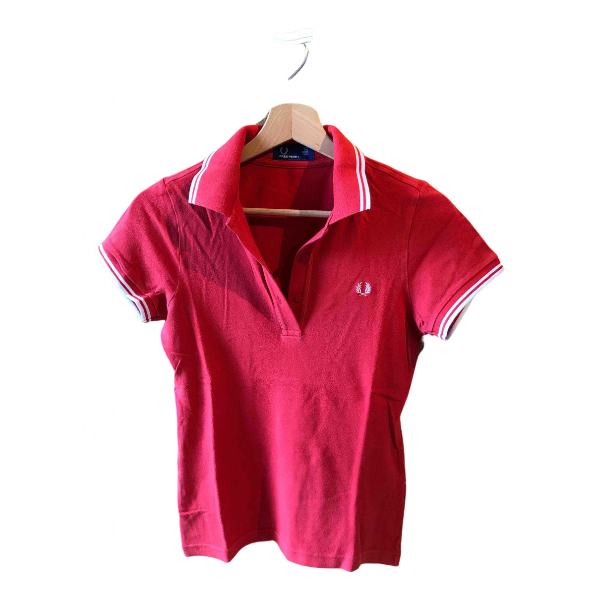 Fred Perry N Red Cotton  top for Women 10 UK