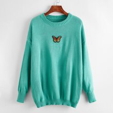 Butterfly Patched Drop Shoulder Sweater