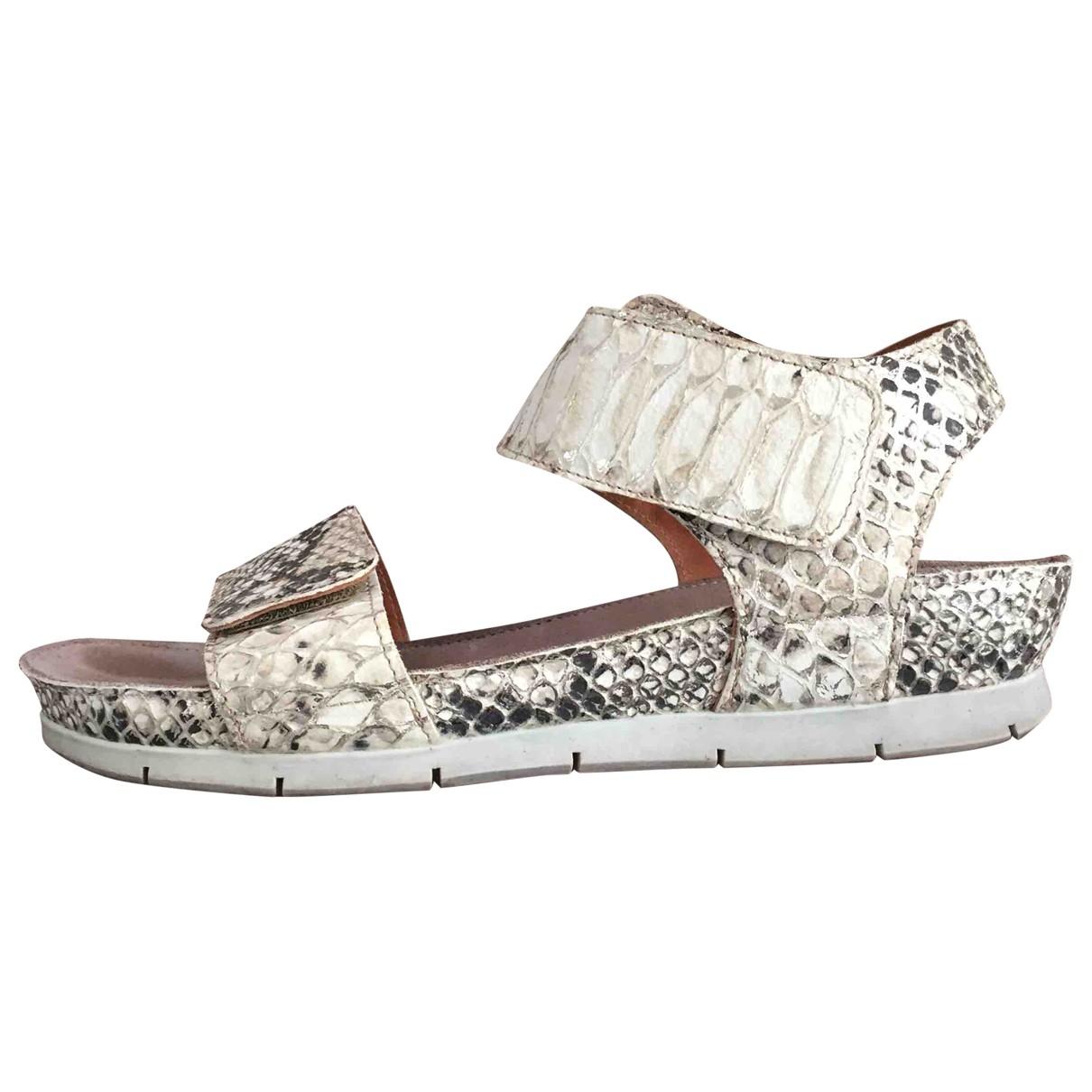 - Sandales   pour femme en python - ecru