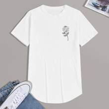 T-Shirt mit Blumen Muster und gebogenem Saum