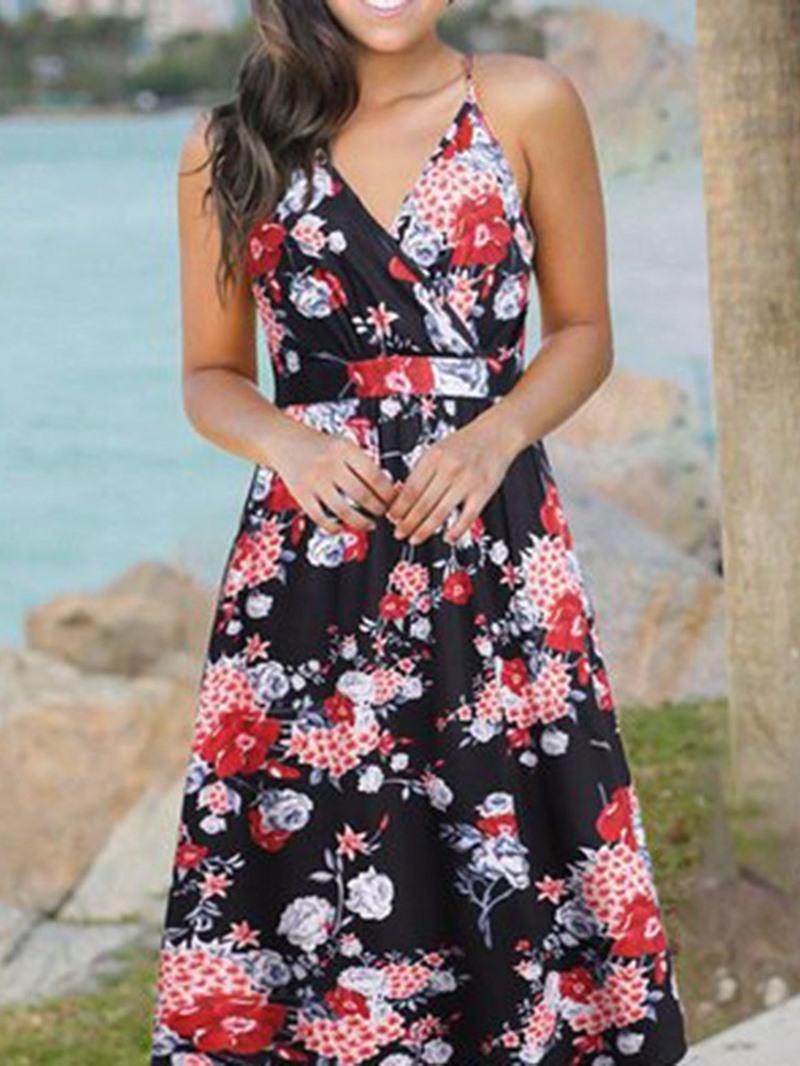 Ericdress Sleeveless V-Neck Print High Waist Sweet Dress