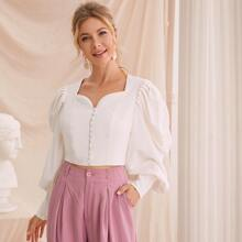 Button Front Bishop Sleeve Crop Blouse