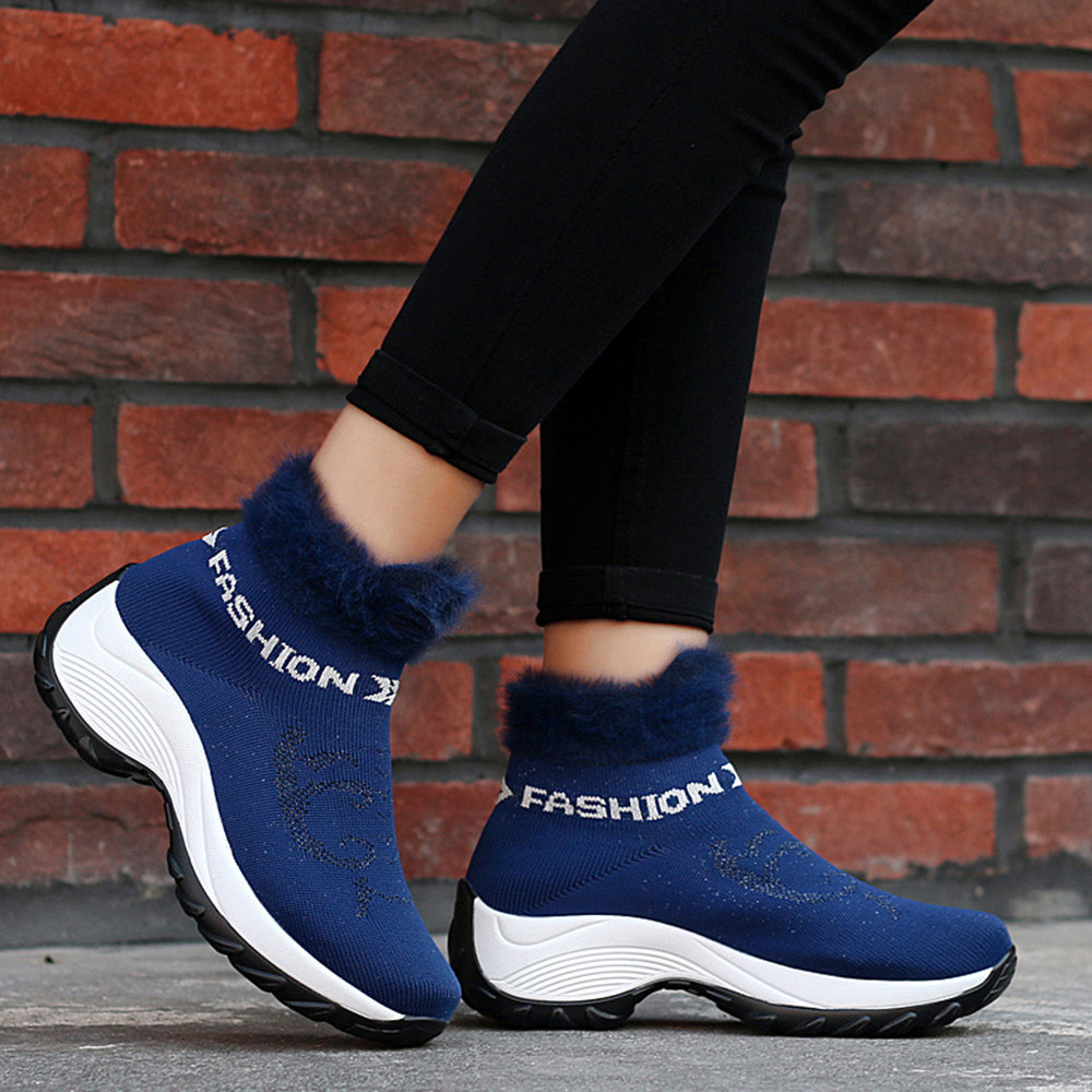 Large Size Women Comfortable Mesh Fur Lining Platform Shoes Casual Boots
