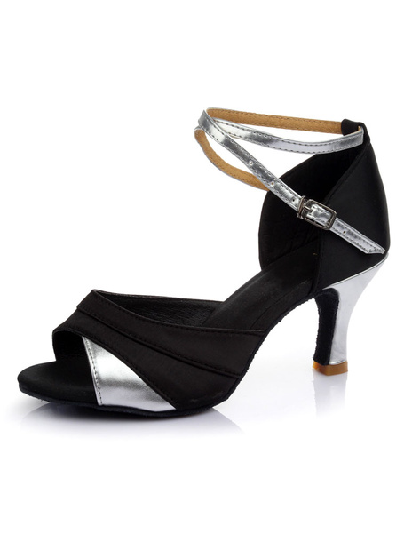 Milanoo Black Latin Dance Sandals Chic Straps Satin Heels