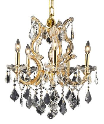 2800D20G/EC 2800 Maria Theresa Collection Hanging Fixture D20in H25in Lt: 5+1 Gold Finish (Elegant Cut
