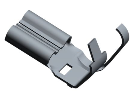 TE Connectivity Faston Series Uninsulated Crimp Flag Terminal, 0.5mm² to 1.3mm², 20AWG to 16AWG, Grey, Nickel Plated (100)