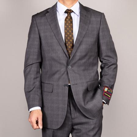 Mens Side Vented Jacket and Flat Front Pants Grey Plaid TwoButton Suit