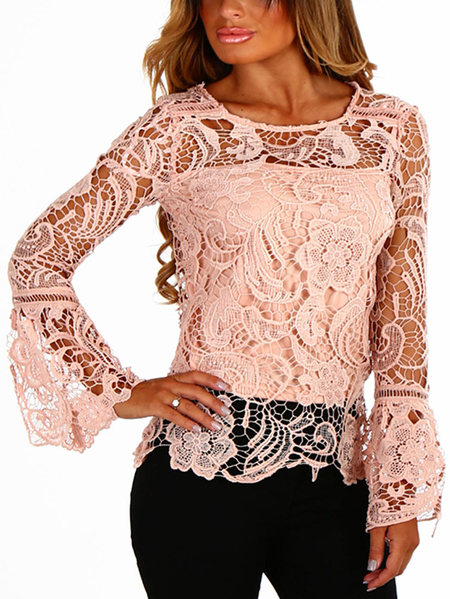 Yoins Pink See-through Lace Round Neck Long Sleeves Sexy Top