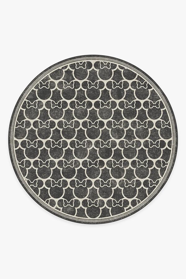 Washable Rug Cover & Pad   Minnie Trellis Black Rug   Stain-Resistant   Ruggable   8 Round
