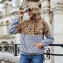 Half Zip Two Tone Leopard Print Teddy Sweatshirt