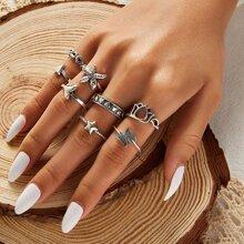 8 pieza anillo con estrella de mar