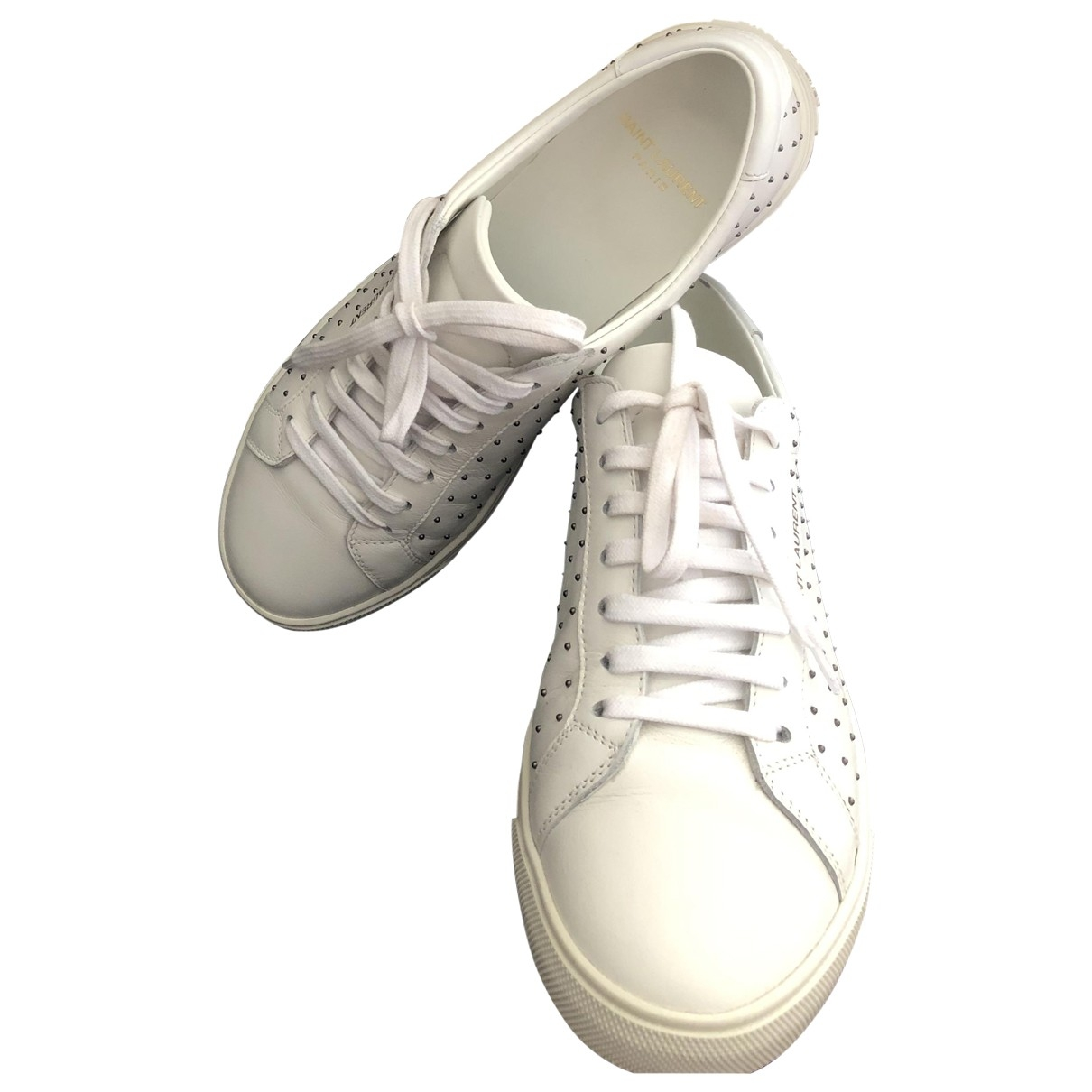 Saint Laurent Andy White Leather Trainers for Women 37.5 EU