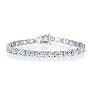 La Preciosa 925 Sterling Silver Round 3mm and 6mm/Oval 4x5mm/5x7mm/Round Zigzag Cubic Zirconia Bridal Engagement 7.5'' Bracelet (Oval (5x7mm))