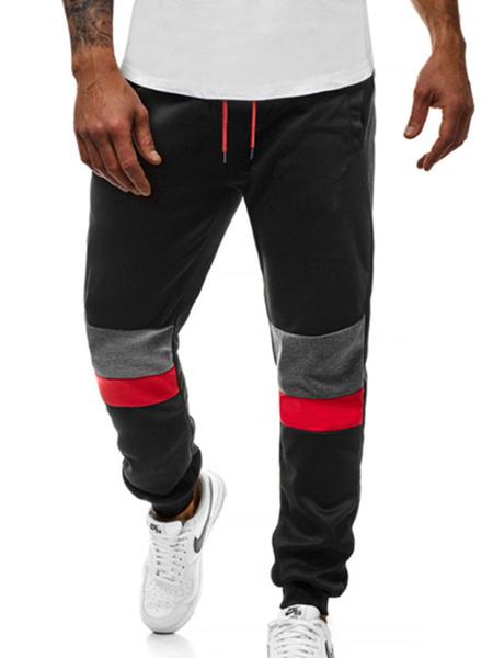 Milanoo Jogger Pants Men Color Block Elastic Waist Sweatpants