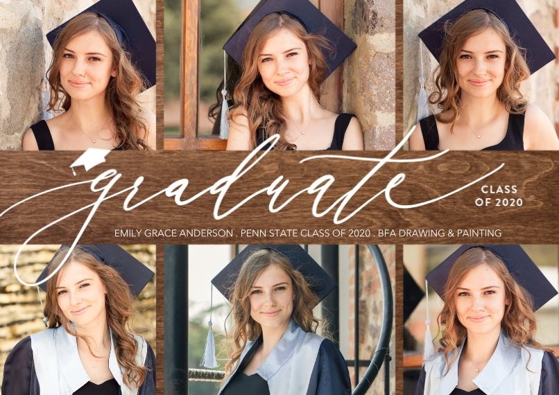 Graduation Announcements 5x7 Cards, Premium Cardstock 120lb with Scalloped Corners, Card & Stationery -Class of 2020 Elegant Script by Tumbalina
