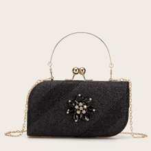 Rhinestone & Glitter Decor Kiss Lock Box Bag