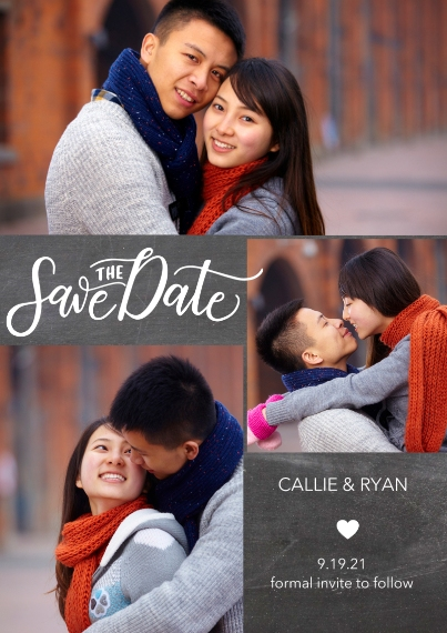 Save the Date 5x7 Cards, Premium Cardstock 120lb with Rounded Corners, Card & Stationery -Save Date Heart by Tumbalina