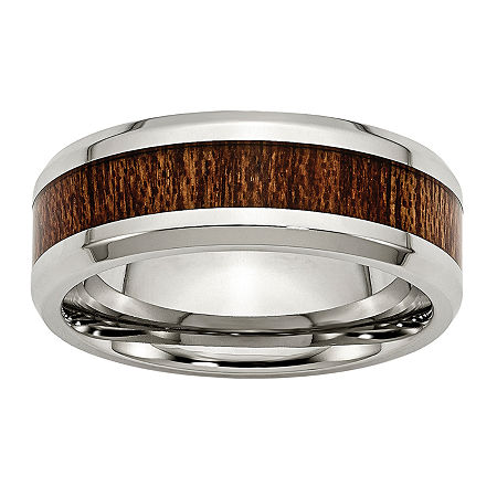 Personalized Mens 8mm Stainless Steel & Brown Wood Inlay Wedding Band, 9 , No Color Family