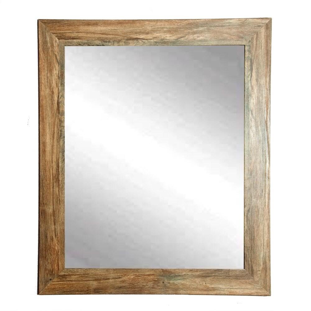 Traditional Blonde Barnwood Wall Mirror - light brown (32.5 x 39)