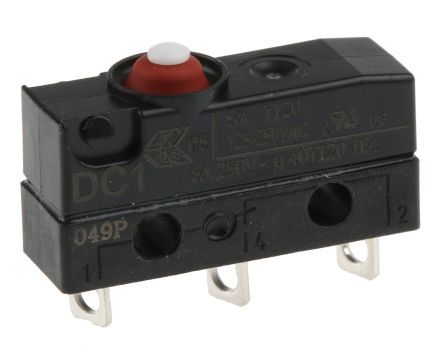 ZF SPDT-NO/NC Button Microswitch, 10 A @ 250 V ac
