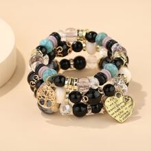 3pcs Heart Charm Beaded Bracelet