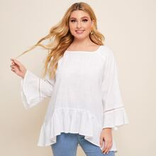 Plus Hollow Out Sleeve Ruffle Hem Top