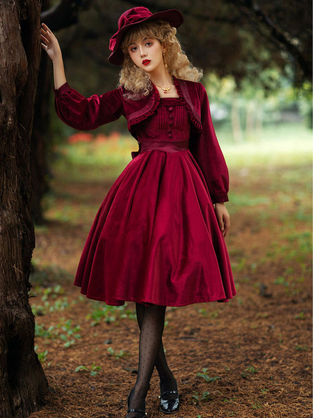 Milanoo Sweet Lolita JSK Dress Dark Green Sleeveless Velour Lolita Jumper Skirts