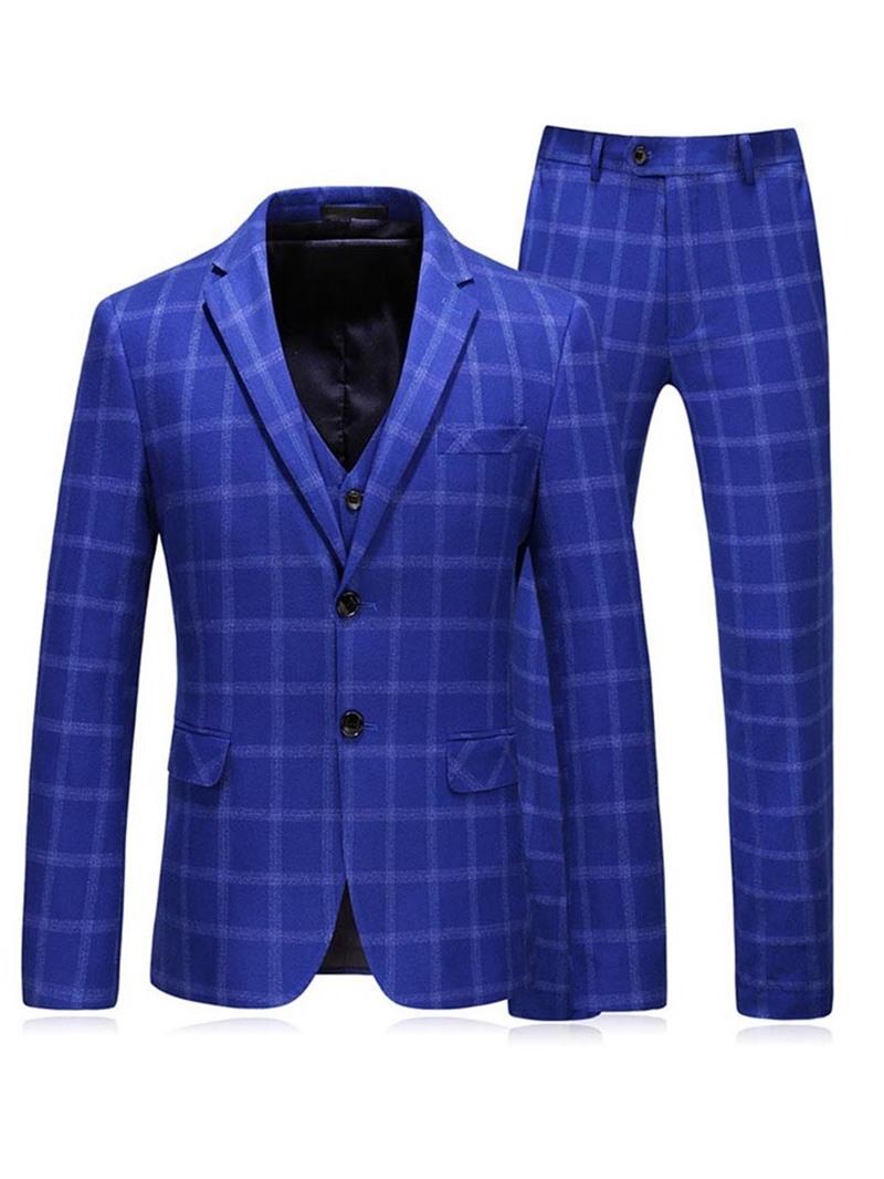 Ericdress Plaid Blazer Men's Dress Suit