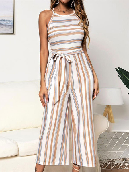Milanoo Wide Leg Jumpsuit Stripes Sleeveless Summer One Piece Outfit