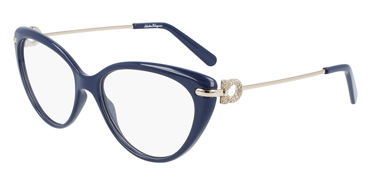Salvatore Ferragamo SF2871R 743 Women's Glasses Blue Size 56 - Free Lenses - HSA/FSA Insurance - Blue Light Block Available
