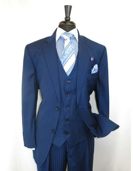 Men's Shadow Stripe Style 2Buttons Single Notch Lapel Blue Vested Suit