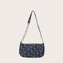Geometric Graphic Baguette Bag