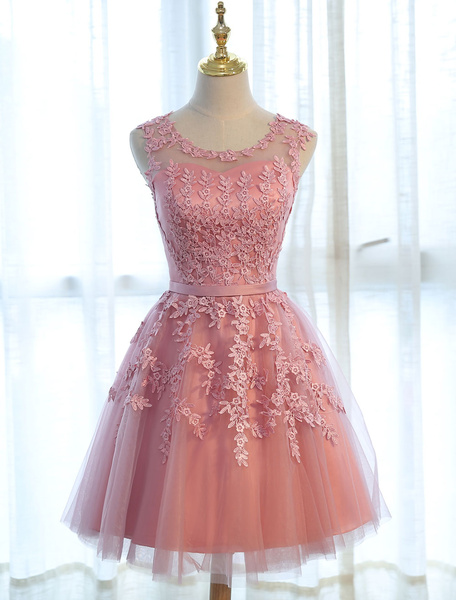 Milanoo Homecoming Dresses Short Light Grey Prom Dresses Lace Applique Tulle Tutu Party Dress