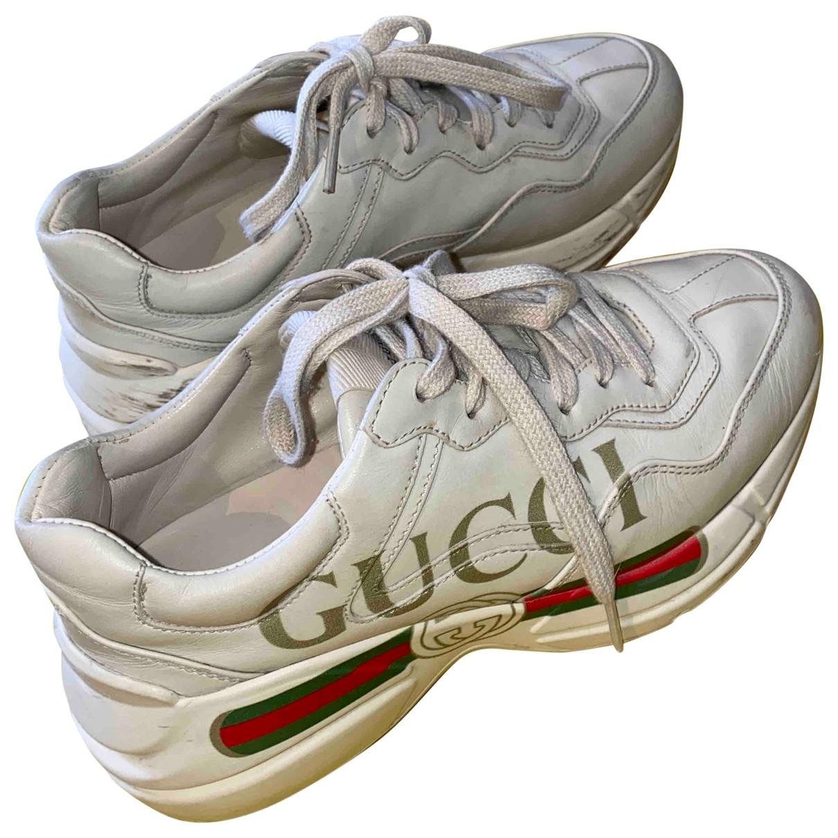 Gucci - Baskets Rhyton pour femme en cuir - ecru