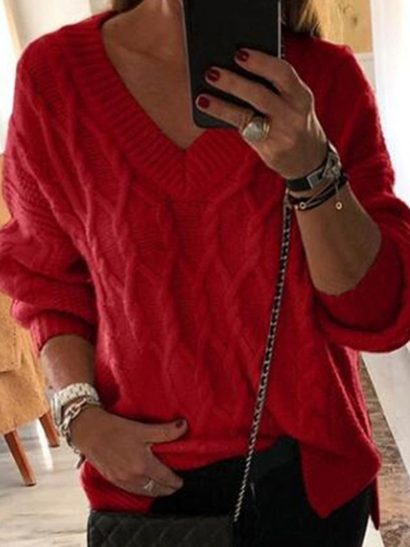 Ericdress Regular Regular V-Neck Fall Sweater